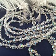 Beautiful! Opal Hued Multi Strand Crystal Bead Necklace and Bracelet Set