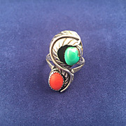 Native American Indian Navajo Turquoise and Red Coral Ring Size 9