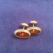 Victorian Amber Glass Cabochon Cufflinks c.1895