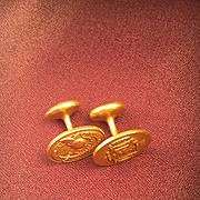 KREMENTZ Gold Plated Military Insignia Cufflinks