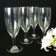 Set of Four Crystal Short Stemmed Wine Glasses
