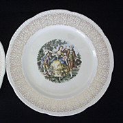 Pair Homer Laughlin Dinner Plates Feature Colonial Couple