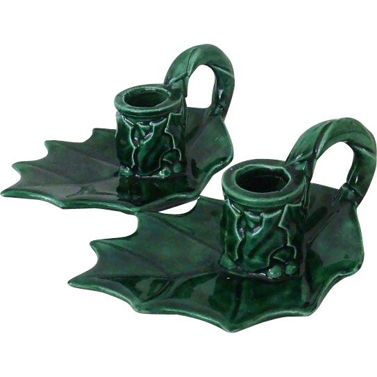 Holly Candle Holders 1960's Ceramic Christmas Project