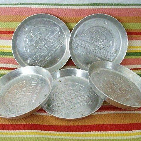 Set of Five Stanhome Aluminum Coasters