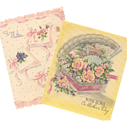 Pair 1940's Mother's Day Cards