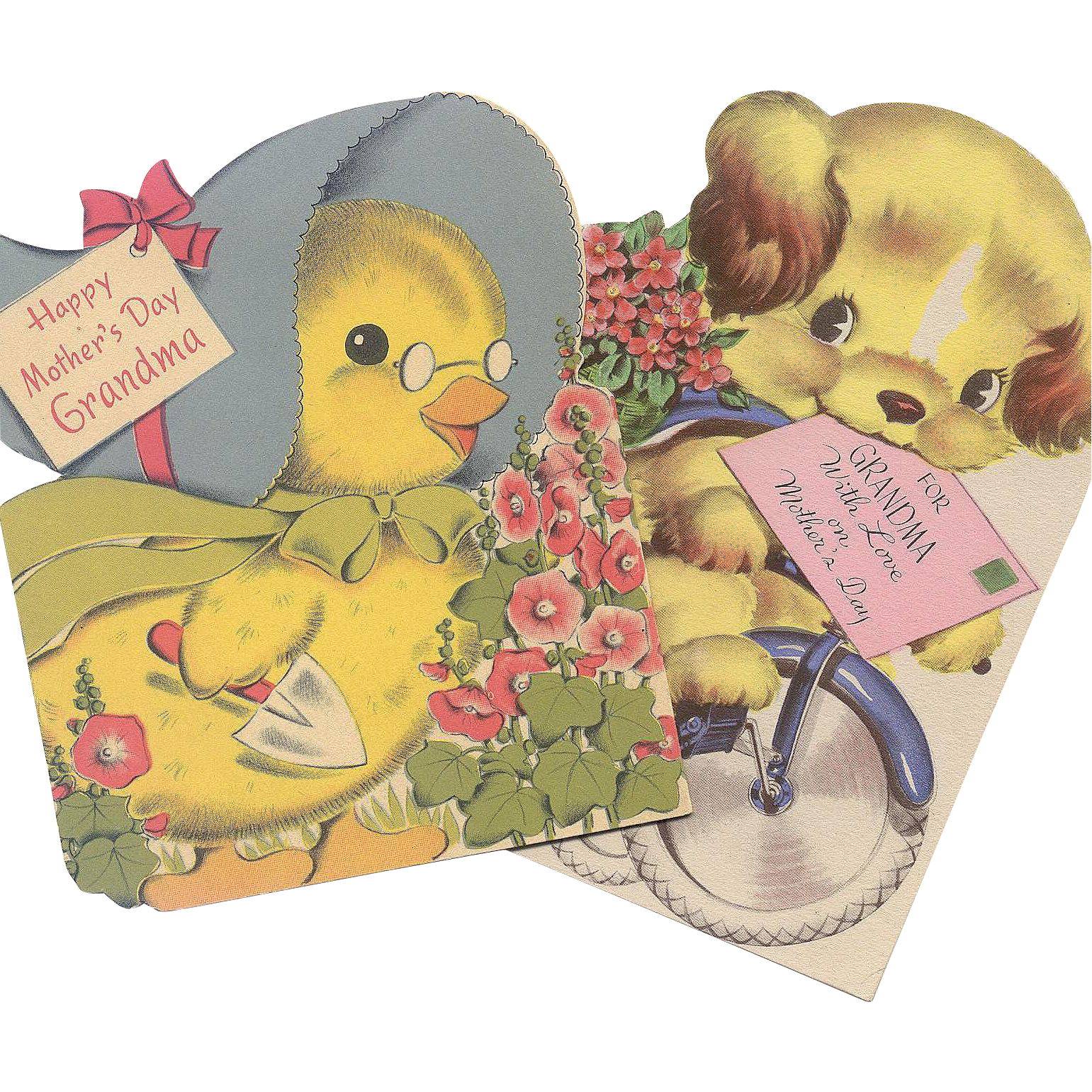 Pair 1940's Mother's Day Cards For Grandma