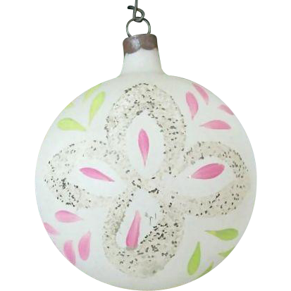 Hand Painted Single Frosted Christmas Ornament