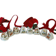 Imported Tiny Christmas Ceramic Bells 1960's
