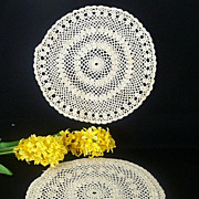 Pair Large Matched Round Hand Crocheted Doilies