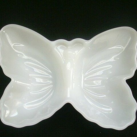 Avon Milk Glass Butterfly Vanity Dish