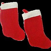 Pair Familiar Christmas Stockings 1970s