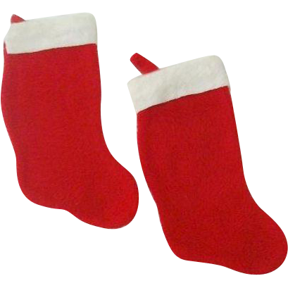 Pair Familiar Christmas Stockings 1970s