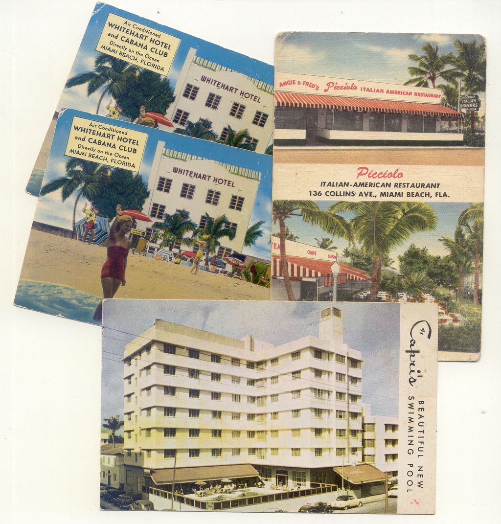 Set Early Miami Vacation Postcards