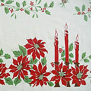 Candles & Poinsettias Adorn Classic Holiday Tablecloth