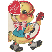 Banjo-Playing Duck With Valentine Greetings For Grandma