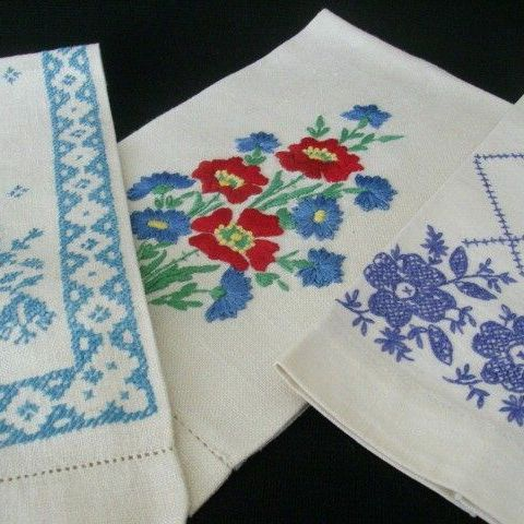 Set of Three Vintage Embroidered Guest Towels