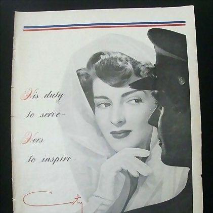 Original Print 1942 Full Page Color Ads Coty & Burlington Mills