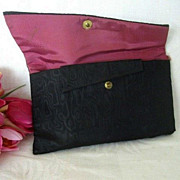 Ladies Black Satin Cosmetic Bag Signed B. Dainty