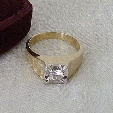 Classic 14K Gold Ring With Imitation Diamond