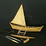 South Pacific Souvenir Hand Carved Outrigger Canoe