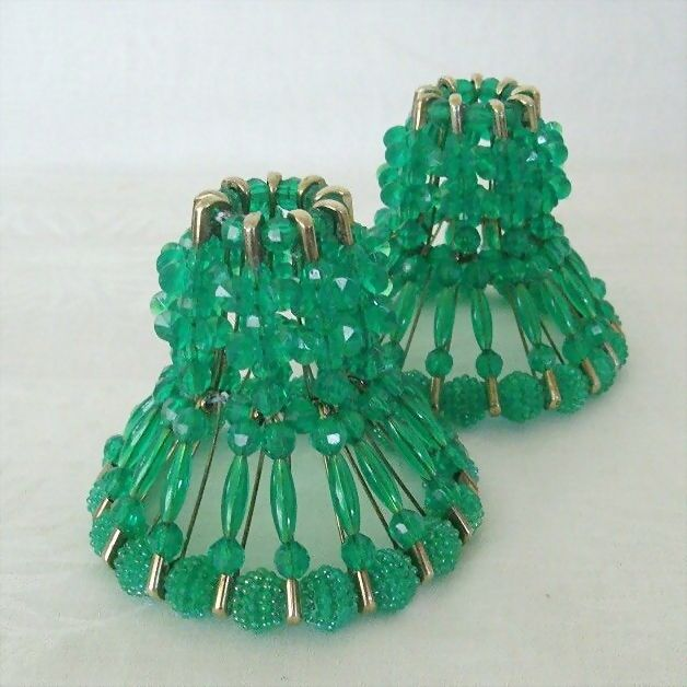 Beaded Safety Pin Craft Candle Holders Dated 1960's