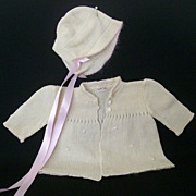 Infant 1940's Sweater and Cap Restored