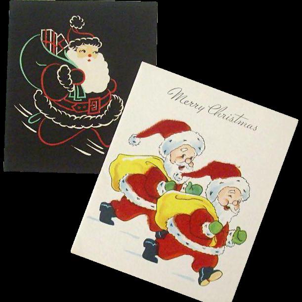 Santas With Christmas Greetings
