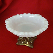 Anchor Hocking Milk Glass Dish on Pedestal