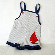Red Sailboat Highlights Navy/White Toddler Outfit