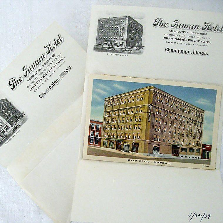 Historic Inman Hotel Champaign Illinois 1939