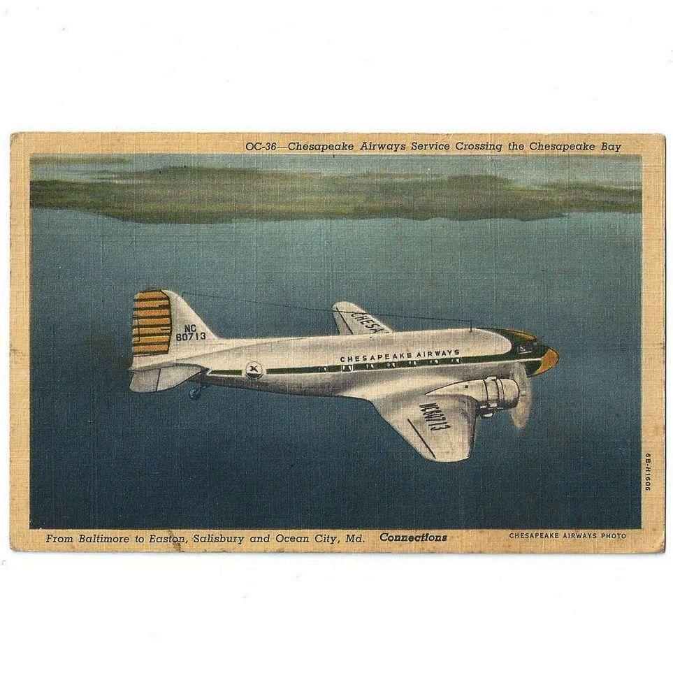 Chesapeake Airways On Delmarva Linen Postcard 1950s