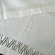 Large Linen Towel With Unusual Drawn Thread Trim
