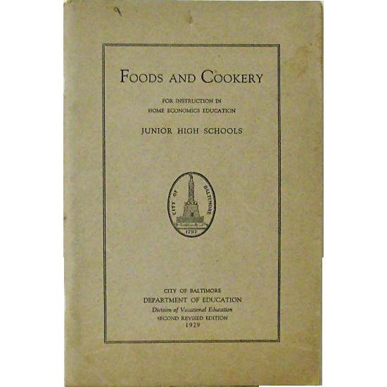 Baltimore Public Schools 1929 Home Economics Booklet