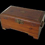 Tiny Decal Tops 1940s Wood Keepsake Box