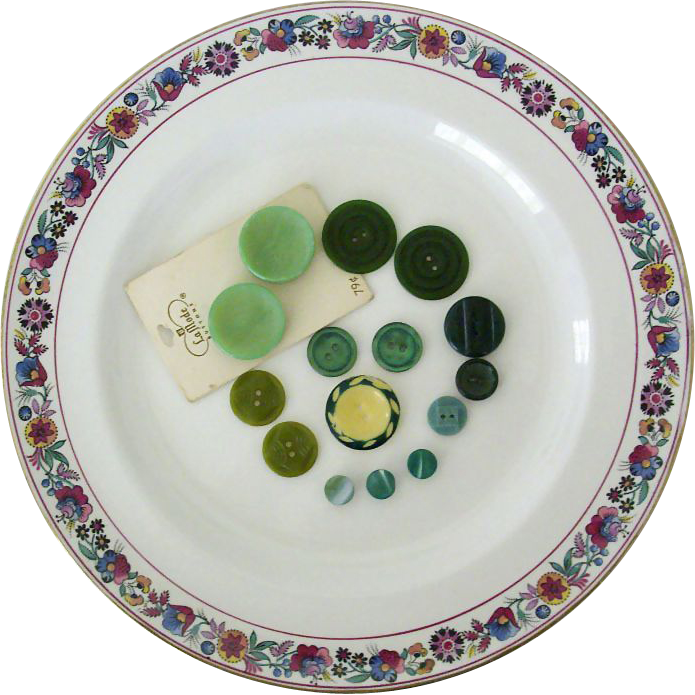 Mid-Century Buttons All Green