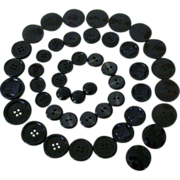 Vintage Black Plastic Buttons Matched Sets