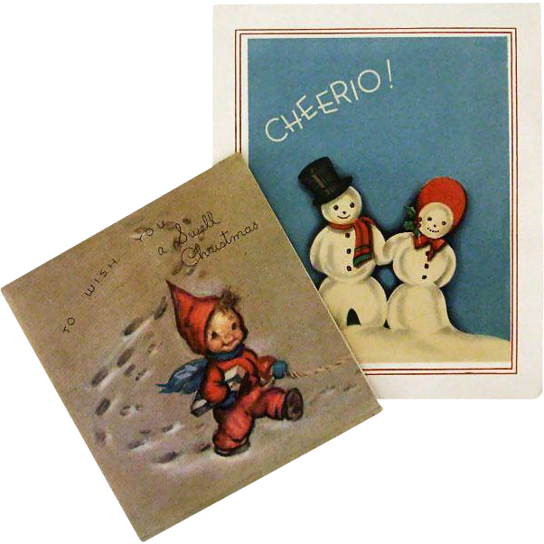 Pair 1940s Snowy Christmas Greetings
