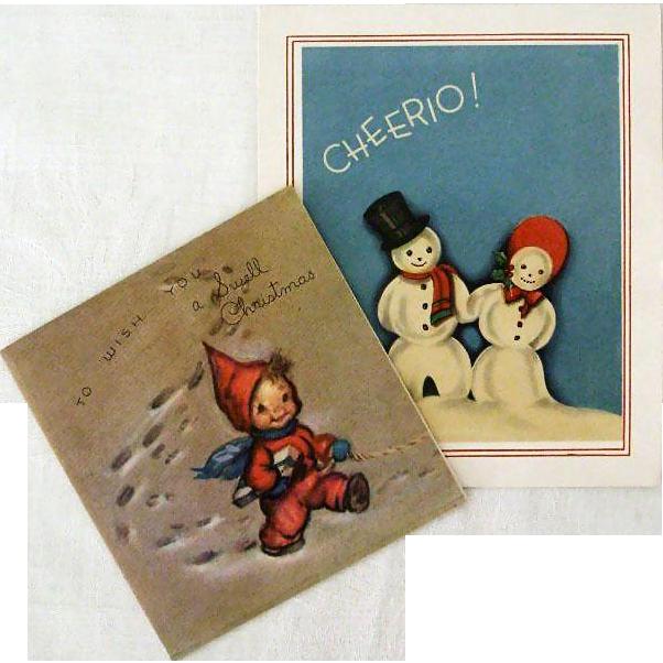 Pair 1940s Snowy Christmas Greetings