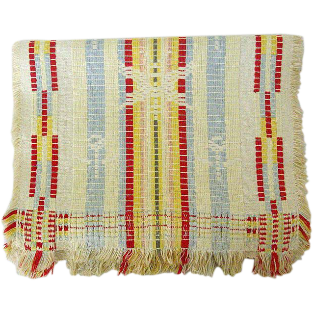 Mid-Century Tri-color Jacquard Woven Table Scarf