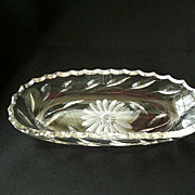 Mid-Century Cut Glass Serving Dish