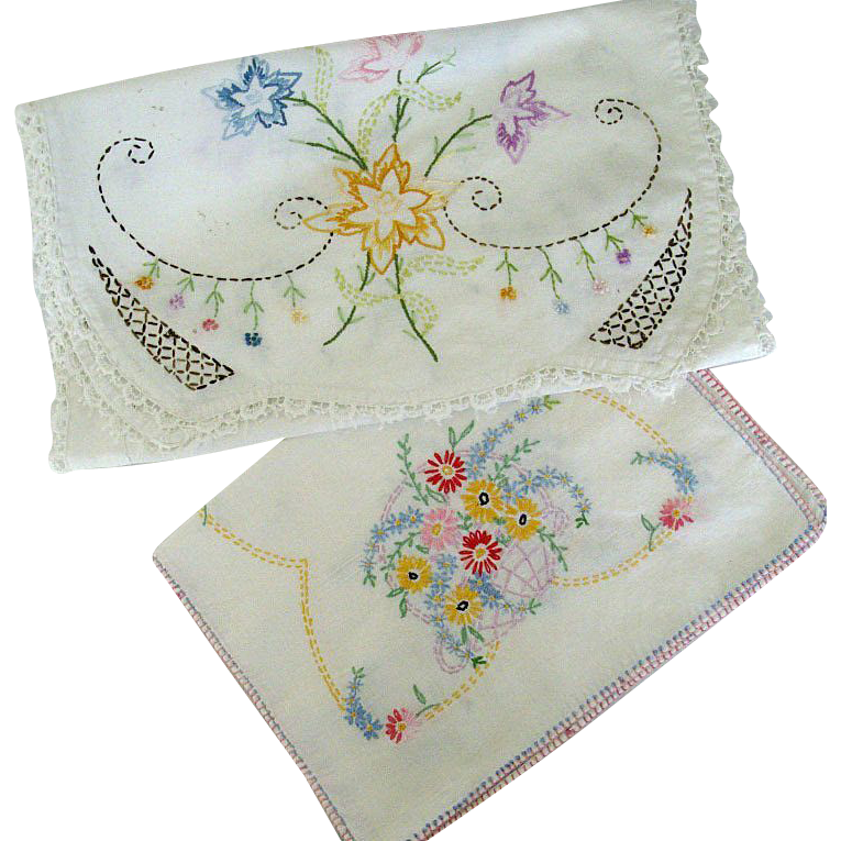 Pair Colorful Embroidered Dresser Scarves