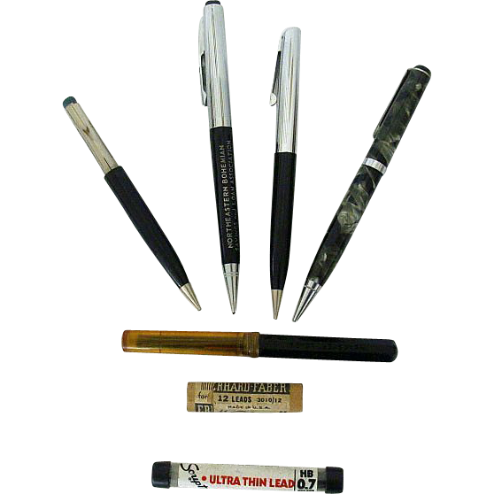 Mid-Century Mechanical Pencils With Lead Containers