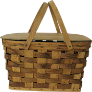 Woven Bent Wood Handled Picnic Basket