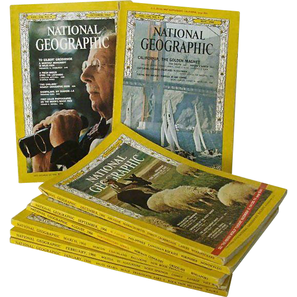 National Geographic Eight Issues 1966
