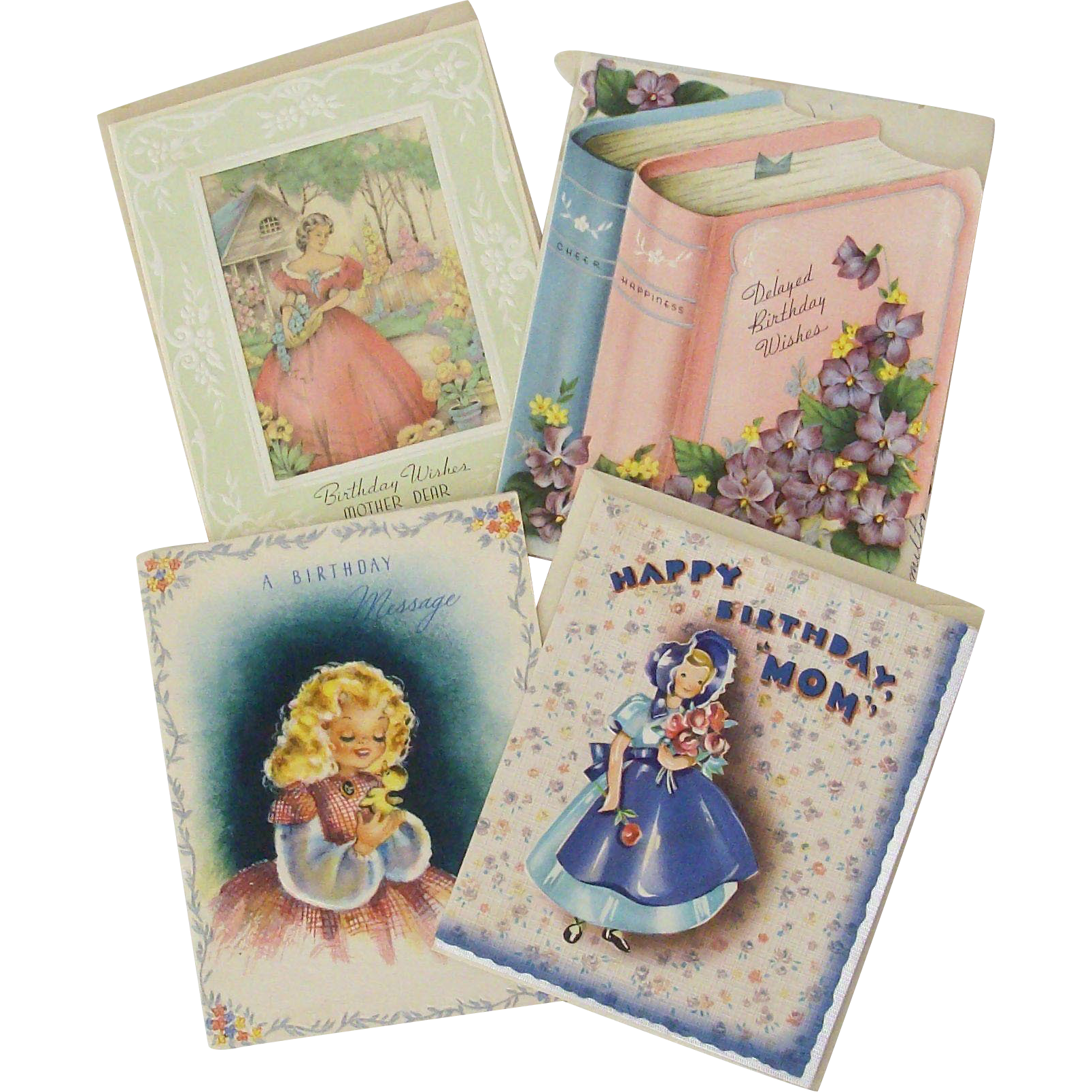 Birthday Wishes From Mid-Century - Set of Four