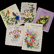 Pretty Vintage Easter Cards - Set of Five