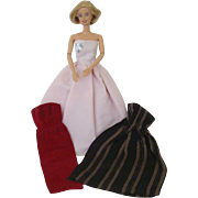 Three Strapless Barbie-style Evening Gowns
