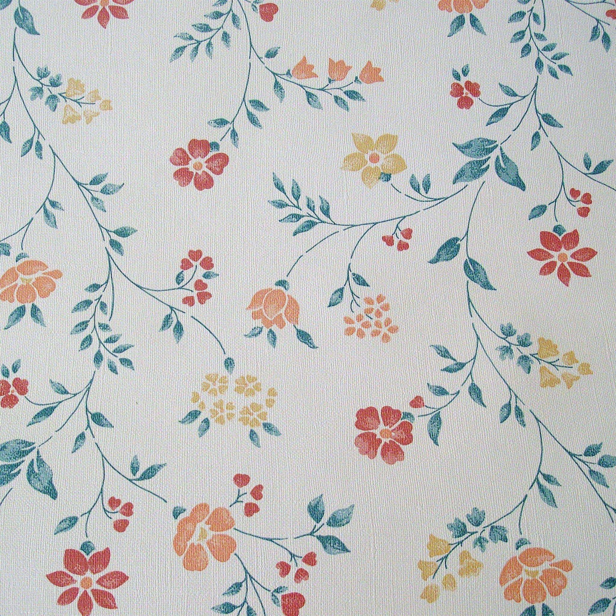 Pretty Flowers on Vintage Wallpaper