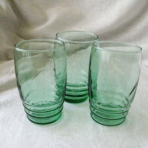 Libbey Logo On Three Green Juice Glasses 1950s