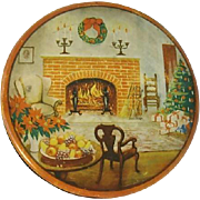 Christmas Cookie Tin With Old-Fashioned Scene